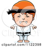 Cartoon Of An Angry Red Haired Martial Arts Karate Boy Royalty Free Vector Clipart
