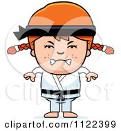 Cartoon Of An Angry Red Haired Martial Arts Karate Girl Royalty Free Vector Clipart
