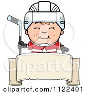 Cartoon Of A Happy Red Haired Hockey Boy Over A Banner Sign Royalty Free Vector Clipart by Cory Thoman