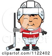 Cartoon Of A Happy Asian Hockey Boy Royalty Free Vector Clipart