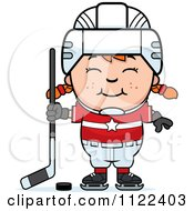 Cartoon Of A Happy Red Haired Hockey Girl Royalty Free Vector Clipart