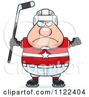 Cartoon Of An Angry Chubby Hockey Player Man Royalty Free Vector Clipart