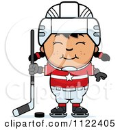 Cartoon Of A Happy Asian Hockey Girl Royalty Free Vector Clipart