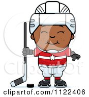 Cartoon Of A Happy Black Hockey Boy Royalty Free Vector Clipart by Cory Thoman