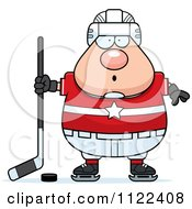 Cartoon Of A Surprised Chubby Hockey Player Man Royalty Free Vector Clipart by Cory Thoman