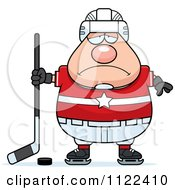 Cartoon Of A Depressed Chubby Hockey Player Man Royalty Free Vector Clipart by Cory Thoman