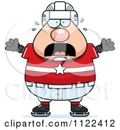 Cartoon Of A Scared Chubby Hockey Player Man Royalty Free Vector Clipart