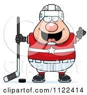 Cartoon Of A Chubby Hockey Player Man With An Idea Royalty Free Vector Clipart by Cory Thoman