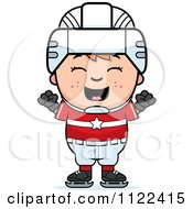 Cartoon Of A Happy Red Haired Hockey Boy Cheering Royalty Free Vector Clipart by Cory Thoman