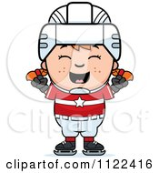Cartoon Of A Happy Red Haired Hockey Girl Cheering Royalty Free Vector Clipart by Cory Thoman