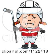 Cartoon Of An Angry Red Haired Hockey Girl Royalty Free Vector Clipart by Cory Thoman
