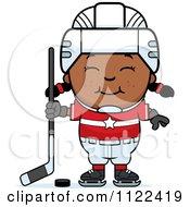 Cartoon Of A Happy Black Hockey Girl Royalty Free Vector Clipart by Cory Thoman