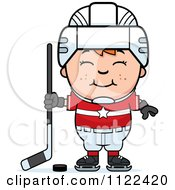 Cartoon Of A Happy Red Haired Hockey Boy Royalty Free Vector Clipart by Cory Thoman