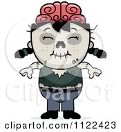Cartoon Of A Happy Zombie Girl Royalty Free Vector Clipart by Cory Thoman