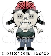 Cartoon Of An Angry Zombie Girl Royalty Free Vector Clipart