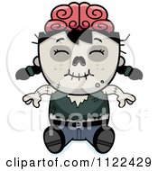 Cartoon Of A Happy Zombie Girl Sitting Royalty Free Vector Clipart by Cory Thoman