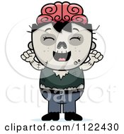 Cartoon Of A Happy Zombie Boy Cheering Royalty Free Vector Clipart by Cory Thoman
