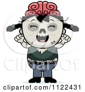 Cartoon Of A Happy Zombie Girl Cheering Royalty Free Vector Clipart by Cory Thoman