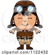 Cartoon Of A Happy Asian Aviator Pilot Girl Royalty Free Vector Clipart