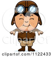 Cartoon Of A Happy Asian Aviator Pilot Boy Royalty Free Vector Clipart