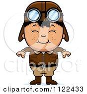 Cartoon Of A Happy Asian Aviator Pilot Boy Royalty Free Vector Clipart