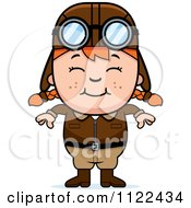 Cartoon Of A Happy Red Haired Aviator Pilot Girl Royalty Free Vector Clipart