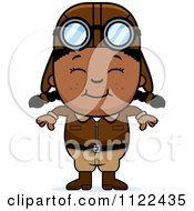 Cartoon Of A Happy Black Aviator Pilot Girl Royalty Free Vector Clipart