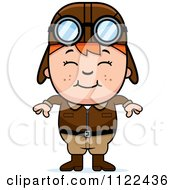 Cartoon Of A Happy Red Haired Aviator Pilot Boy Royalty Free Vector Clipart