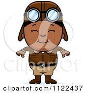 Cartoon Of A Happy Black Aviator Pilot Boy Royalty Free Vector Clipart by Cory Thoman
