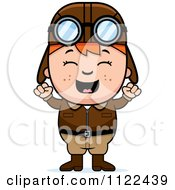 Cartoon Of A Happy Red Haired Aviator Pilot Boy Cheering Royalty Free Vector Clipart