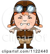 Cartoon Of An Angry Red Haired Aviator Pilot Girl Royalty Free Vector Clipart