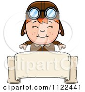 Cartoon Of A Happy Red Haired Aviator Pilot Boy Over A Sign Royalty Free Vector Clipart