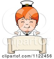 Cartoon Of A Happy Red Haired Sailor Boy Over A Banner Sign Royalty Free Vector Clipart by Cory Thoman