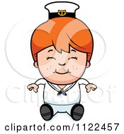 Cartoon Of A Happy Red Haired Sailor Boy Sitting Royalty Free Vector Clipart by Cory Thoman
