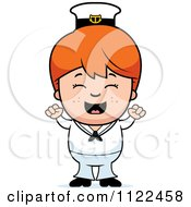 Cartoon Of A Happy Red Haired Sailor Boy Cheering Royalty Free Vector Clipart by Cory Thoman