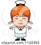 Cartoon Of A Happy Red Haired Sailor Girl Royalty Free Vector Clipart