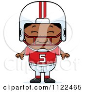 Cartoon Of A Happy Black Football Player Boy Royalty Free Vector Clipart