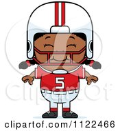 Cartoon Of A Happy Black Football Player Girl Royalty Free Vector Clipart
