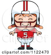 Cartoon Of A Happy Red Haired Football Player Girl Royalty Free Vector Clipart