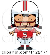 Cartoon Of A Happy Asian Football Player Girl Royalty Free Vector Clipart