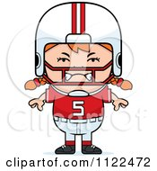 Cartoon Of An Angry Red Haired Football Player Girl Royalty Free Vector Clipart
