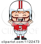 Cartoon Of A Happy Red Haired Football Player Boy Cheering Royalty Free Vector Clipart