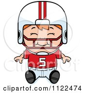 Cartoon Of A Happy Red Haired Football Player Boy Sitting Royalty Free Vector Clipart