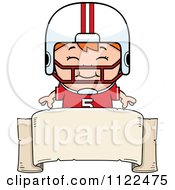 Cartoon Of A Happy Red Haired Football Player Boy Over A Banner Sign Royalty Free Vector Clipart