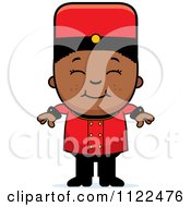 Cartoon Of A Black Bellhop Hotel Boy Smiling Royalty Free Vector Clipart by Cory Thoman
