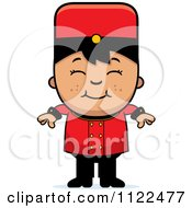 Cartoon Of An Asian Bellhop Hotel Boy Smiling Royalty Free Vector Clipart