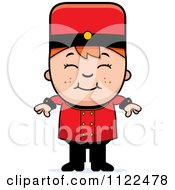Cartoon Of A Red Haired Bellhop Hotel Boy Smiling Royalty Free Vector Clipart by Cory Thoman