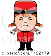 Cartoon Of A Mad Red Haired Bellhop Hotel Girl Royalty Free Vector Clipart by Cory Thoman