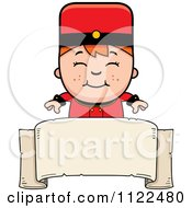 Cartoon Of A Red Haired Bellhop Hotel Boy Over A Banner Royalty Free Vector Clipart by Cory Thoman