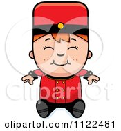Cartoon Of A Red Haired Bellhop Hotel Boy Sitting Royalty Free Vector Clipart by Cory Thoman